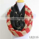 Vintage American Flag Print Infinity Scarf Star Stripe Red Blue Circle Loop Scarf