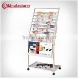 General ladder style newspaper holder magazine display racks with wheels newspaper news racks