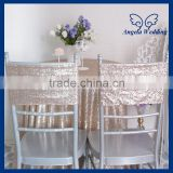 CH018C Wholesale 2015 cheap wedding champagne sequin chair cover band