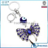 New live animal butterfly with glass evil eye bead keychain wholesale