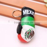 wholesale hot sell PVC leather Mexico flag boxing glove keychain/Meican flag boxing glove keyring