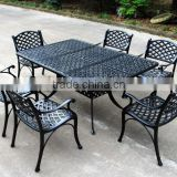 2016 Best Selling 7-Piece Cast Aluminum Rectangle Outdoor Dining Set, Black Sand