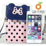 Handmade animal leather small wallet coin purse cellphone case for young girl