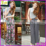 New Korean Women's Floral Prints Pattern Casual Wide Leg Palazzo Loose Pants Trousers