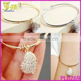 Wholesale Womens Crystal Rhinestone Bracelet Heart Cuff Bangle Wristband Silver/Gold