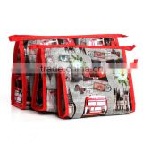 Newest Styles British Big Ben /Elizabeth Tower Double Bus Prints Cosmetic Bag with three pieces set