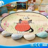 2017 Hot sale cartoon happy birthday cat kids Flower Shape Mats/Rugs
