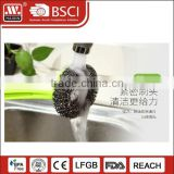 Household Cleaning Plastic ball shape scrubber/scourer Steel Wire Brush with handle for kitchen