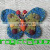 2017 Blue & Green Color Felt Butterfly Brooch Keychain made in China