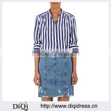 Customized Wholesale Lady's Apparel Long Sleeves Blue and White Striped Cotton Poplin Blouse(DQM026T)