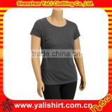 Custom fashion blank o-neck short sleeve cotton/spandex tight fitness women t-shirts yoga clothing