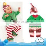 Wholesale baby stocks children clothes romper with hat kids wear christmas design kids stripe christmas romper