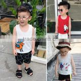 S17140A In stock boys summer cotton knitting pattern printed baby vest