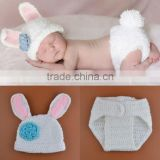Baby Newborn Photography Props Crochet Baby Beanie Hat ,Knitted bunny Costume Outfit