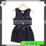 wholesale kids girls detachable denim dress baby clothes new design Baby Girls Cusual Dress