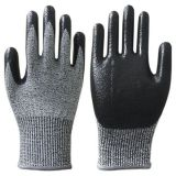 Anti Cut Level 5 13G HPPE Fiberglass Liner Nitrile Smooth Coated Cut Resistant Gloves with EN388 4544