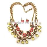 Fashion cheap jewelry set 2015 wholesale alloy material acrylic flower jewelry sets hot sale statement jewelry necklaces