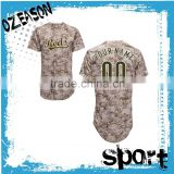 OEM fashionable button down polyester short sleeve men sublimated camo baseball jerseys