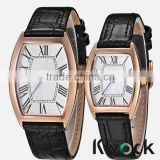 Vogue Cheap stainless steel case quartz square leather watches Men