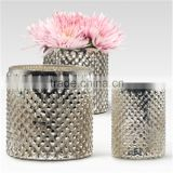 Silver Glass Vase For Flower & Votive Candle Holders for Entertaining Romantic Dinner