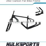 "High quanlity 26er full carbon fat bike frame 26inch 190/197mm spacing of snow bicycle frame 16""/18""/20"" with bsa bb 3K/UD                                                                         Quality Choice"