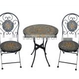2015 Hot sale outdoor metal stone mosaic round table and chair bistro set