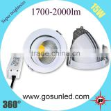 White /black / sliver housing High Quality gimbal LED downlight 15W with CE /ROHS approved