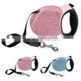 Bling Rhinestone Studded Retractable Dog Pet Leashes Extending Leads Pink/Blue