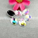 Sew-on Oval AB cutting acrylic beads, loose flat back faceted cut acrylic stones, sewing stone for garment accessories