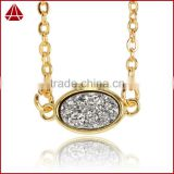 Gold Filled Simple Silver Oval Druzy Necklace on Gold Chain