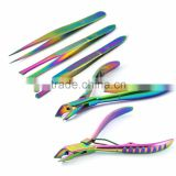 Titanium Color Eyebrow Tweezers and Cuticle Nippers Clipper Manicure Facial Care