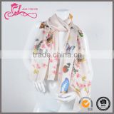 The Turkish printed pattern silk material wholesale solid color 100 silk cooling scarf for women