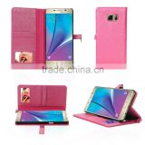 2016 new fashion hand-crafted stand wallet pu case with cosmetic mirror case wallet for samsung galaxy note 7                                                                                                         Supplier's Choice