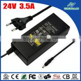 UL E345214 24V 3.5A class 2 power adapter desktop type AC DC adapter with 3 years warranty