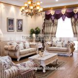 European style solid wood sectional sofa / noble fabric sofa furniture/living room sofa wooden farbic sofa