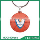 Wholesale bulk two sided basketball advertising customized key ring