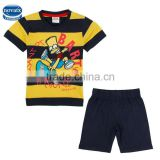 (CD4816) Nova brand 2-6 years boys summer sets with NY color 100% cotton boys t-shirt and short sets