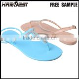 New design high quality crystal pvc plain jelly sandal , blue plastic jelly sandal woman