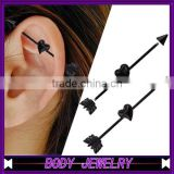 BA01066 arrow with heart fake industrial piercing jewelry