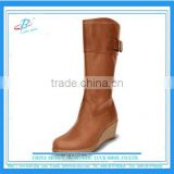 Wedge heel long boots women over knee boots genuine leather boots