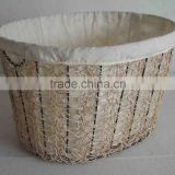 Oval crazy weaving basket ,NEW design laudry basket with cotton linning