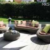 Wicker Round Rattan Garden Sofa Set Furniture- Patio Garden Aluminium PE Wicker Sofa Furniture