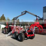 CE certificate ZM3004 3 tons ATV Log loading Trailer with Crane for sale