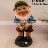 Garden gnome statue Playing golf home decoration products