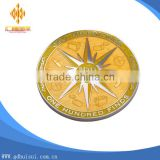 High quality engrave star plating gold blank medallion