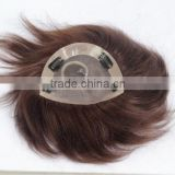 Men's toupee with Clips Human hair hand tied lace wig