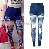 Wholesale 2016 Summer Fashion Women Shredded Damaged Rock Revival Jean Pants Ladies Vogue Torn High Waist Ripped Baggy Jeans