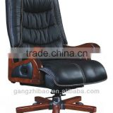 China manufacturer boss recliner office chair with woodern base&armrest