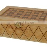 2015 year China suppliers sale factory price FSC&SA8000 antique color wood jewellery box with acrylic lid