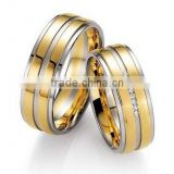 Couples Matching Set Jewelry Two Tone Comfort Fit Silver Gold Grooved Titanium Band Ring Fashion CZ diamond wedding band